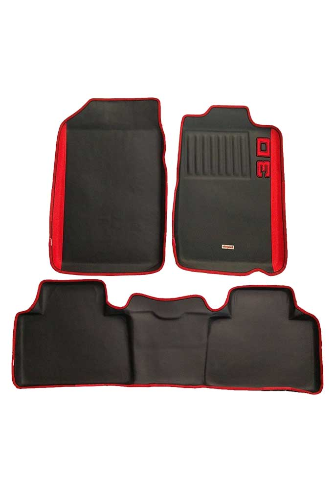 Diamond 3D Car Floor Mat Black and Red (Set of 3)