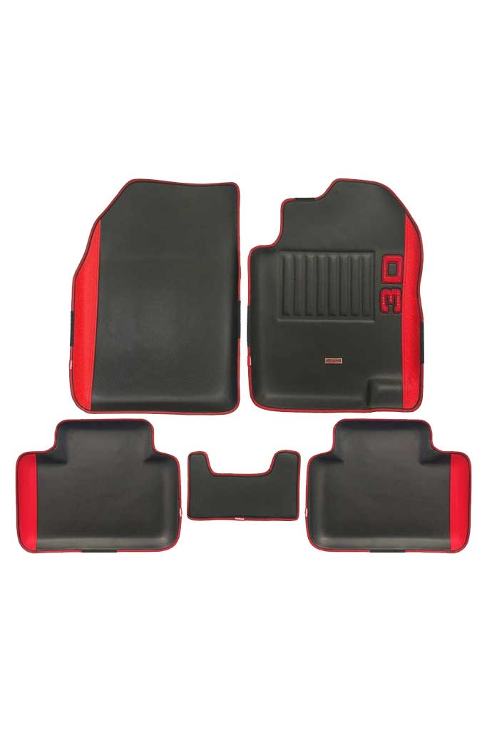 Diamond 3D Car Floor Mat Black and Red (Set of 5)