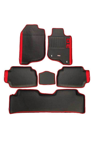 Diamond 3D Car Floor Mat Black And Red (Set of 6)