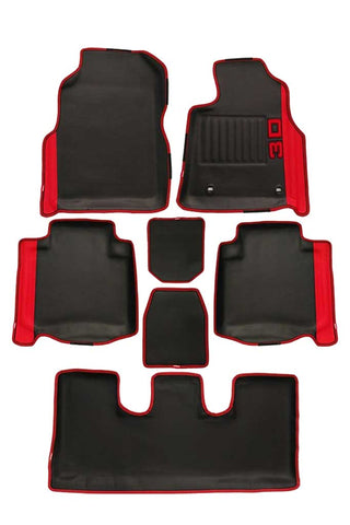 Diamond 3D Car Floor Mat Black and Red (Set of 7)