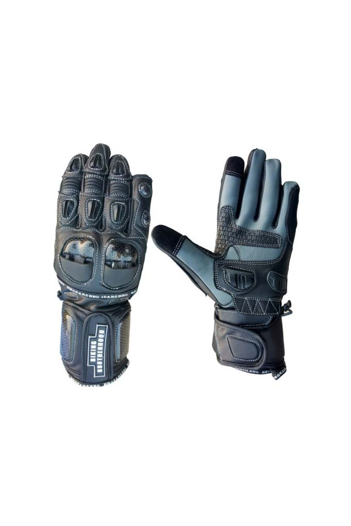 Biking Brotherhood Full Gauntlet Gloves - Black