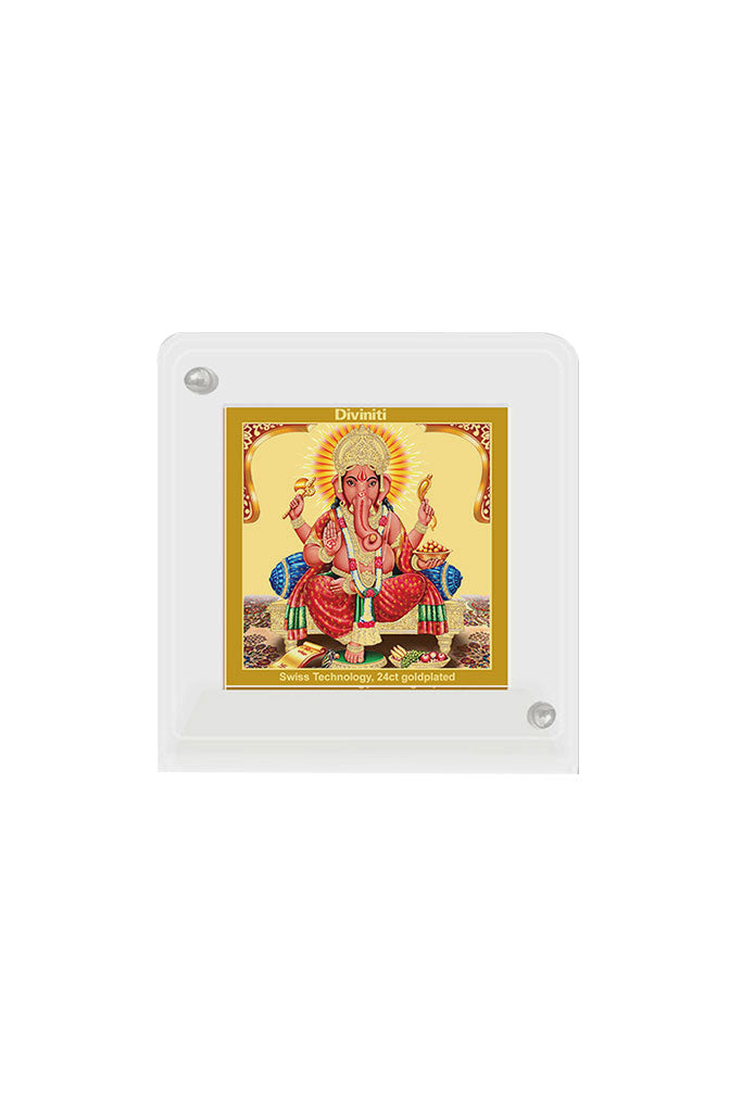 Diviniti 24k Gold Plated Car Dashboard Frame Ganesha (ACF 1B)