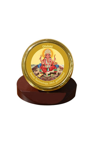 Diviniti 24k Gold Plated Car Dashboard Frame Ganesha (MCF 1CR)
