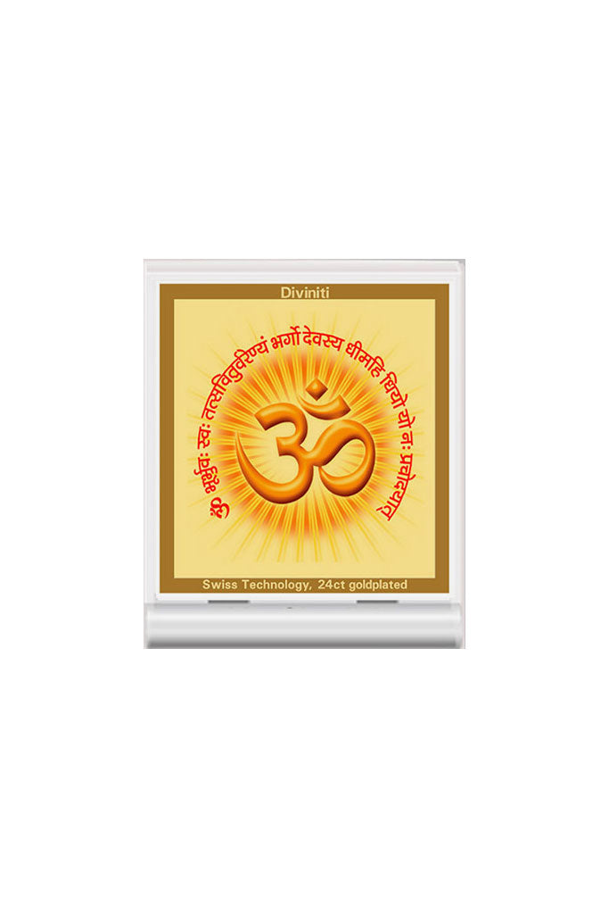 Diviniti 24k Gold Plated Car Dashboard Frame OM with Gayatri Mantra (ACF 3)