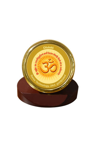 Diviniti 24k Gold Plated Car Dashboard Frame Om with Gayatri Mantra (MCF 1CR)