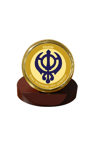 Diviniti 24k Gold Plated Car Dashboard Frame Khanda (MCF 1CR)