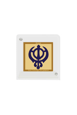 Diviniti 24k Gold Plated Car Dashboard Frame Khanda (ACF 1B)