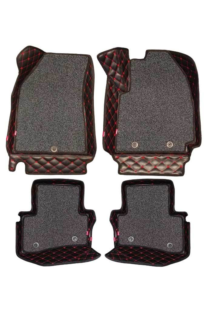 5D Car Floor Mat Black and Red (Set of 4)