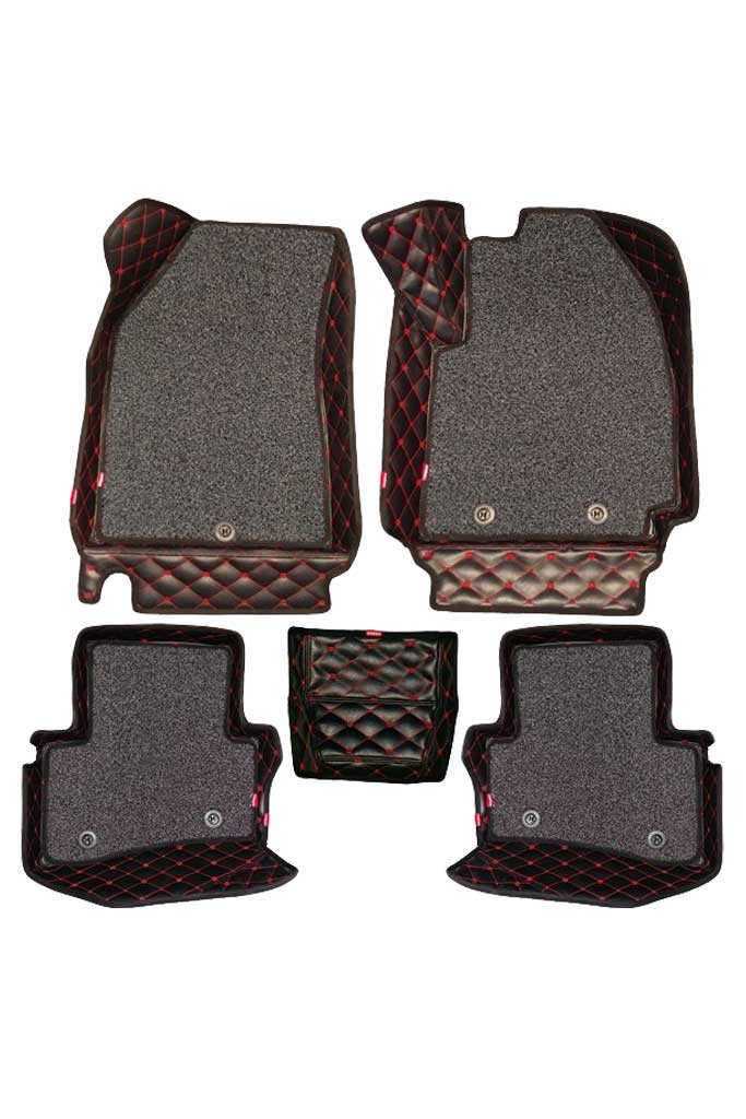 5D Car Floor Mat Black and Red (Set of 5)