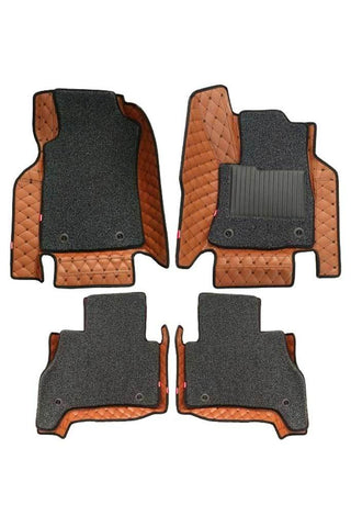 5D Car Floor Mat Tan and Black (Set of 4)