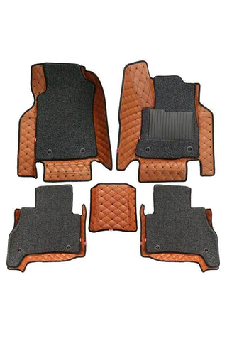 5D Car Floor Mat Tan and Black (Set of 5)