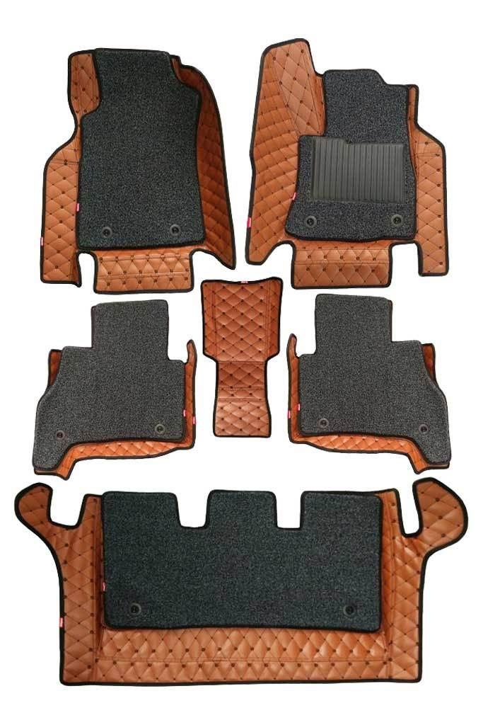 5D Car Floor Mat Tan and Black (Set of 6)