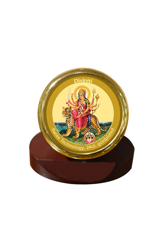 Diviniti 24k Gold Plated Car Dashboard Frame Durga (MCF 1CR)