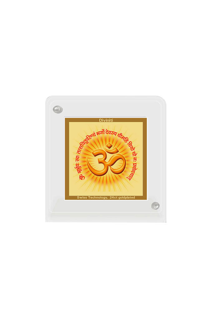 Diviniti 24k Gold Plated Car Dashboard Frame Om with Gayatri Mantra (ACF 1B)