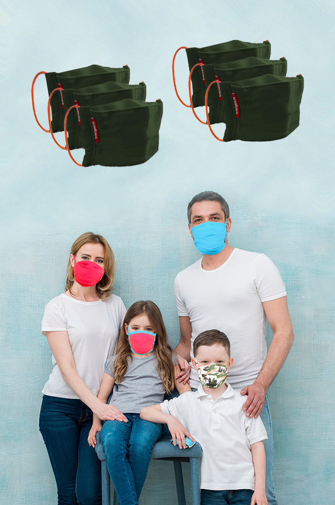 Elegant Cotton Face Mask Olive Green  Elastic Tieup Family Pack