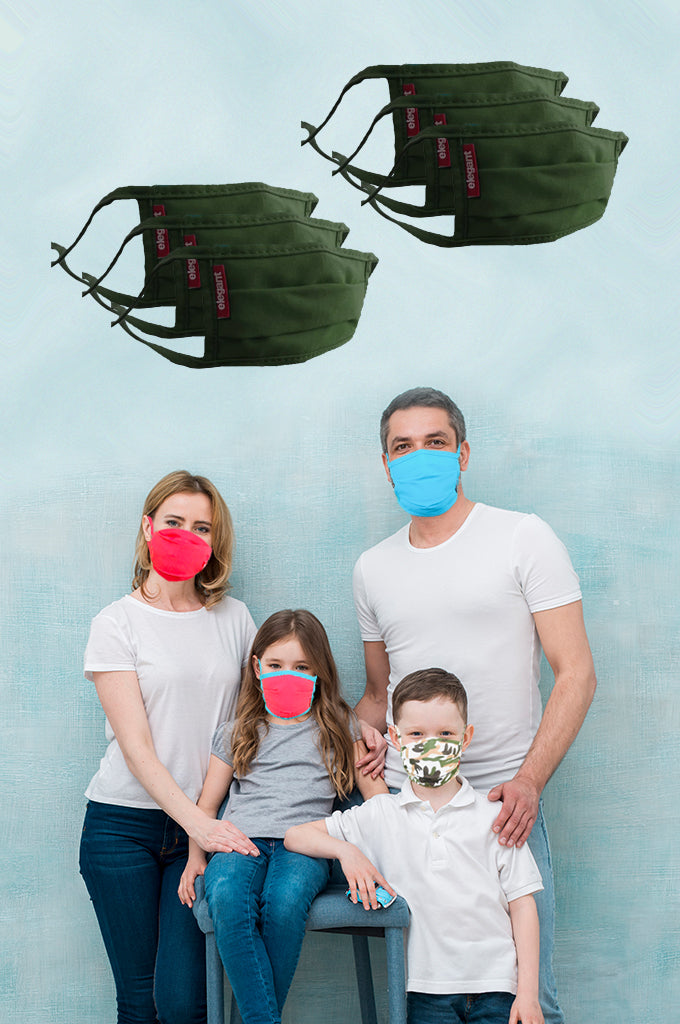 Elegant Cotton Face Mask Olive Green String Tieup Family Pack