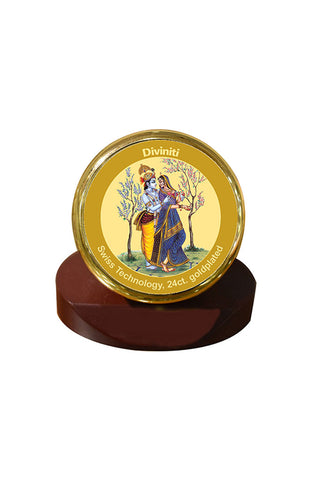 Diviniti 24k Gold Plated Car Dashboard Frame Radha Krishna (MCF 1CR)