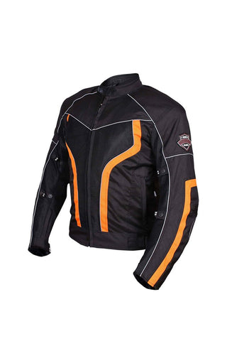 Biking Brotherhood Xplorer Jacket Black and Orange