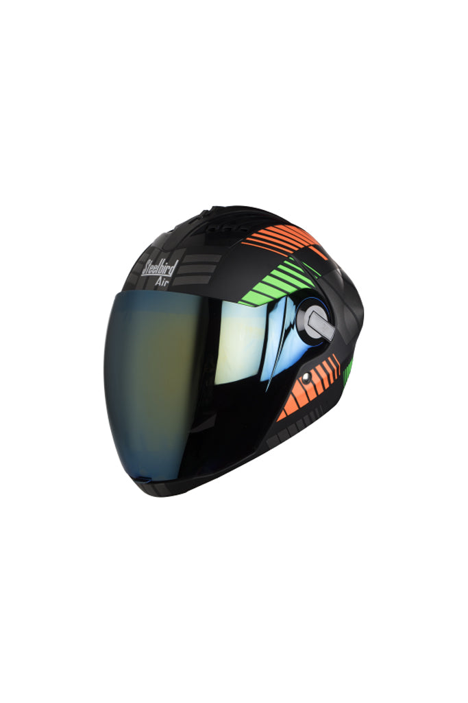 Steelbird Air Robot Full Face Helmet-Glossy Finish Orange With Green