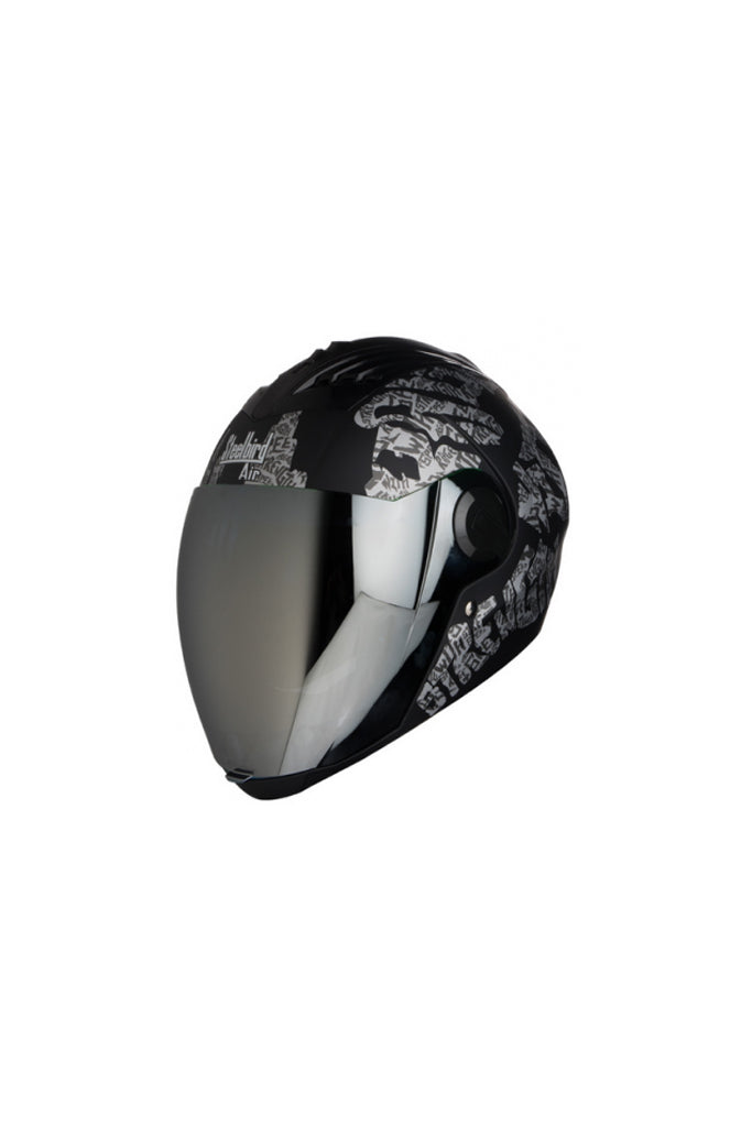 Steelbird Air Strength Full Face Helmet-Matt Black With White