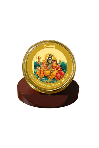 Diviniti 24k Gold Plated Car Dashboard Frame Shiv Parivar (MCF 1CR)