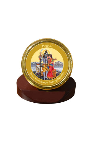 Diviniti 24k Gold Plated Car Dashboard Frame Shiv Parvati (MCF 1CR)