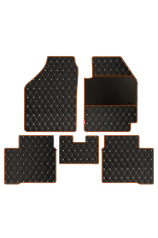 Luxury Leatherette Car Floor Mat Black and Orange (Set of 5)