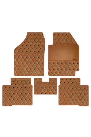 Luxury Leatherette Car Floor Mat Tan (Set of 5)
