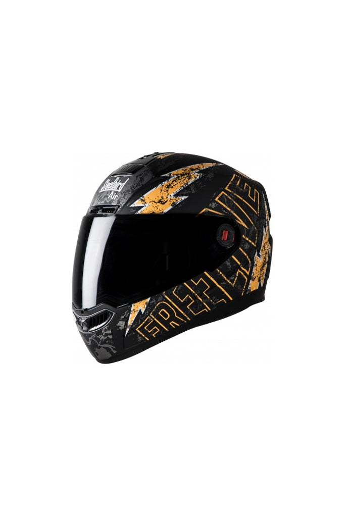 Steelbird Air Free Live Full Face Helmet-Matt Black With Orange