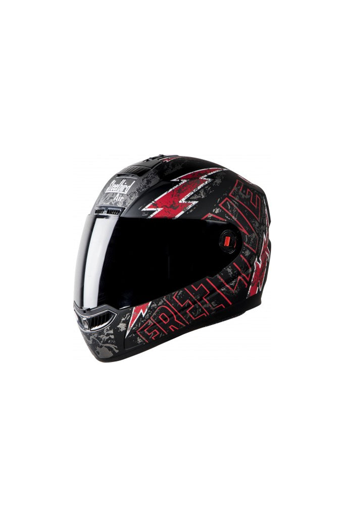 Steelbird Air Free Live Full Face Helmet-Matt Black With Red