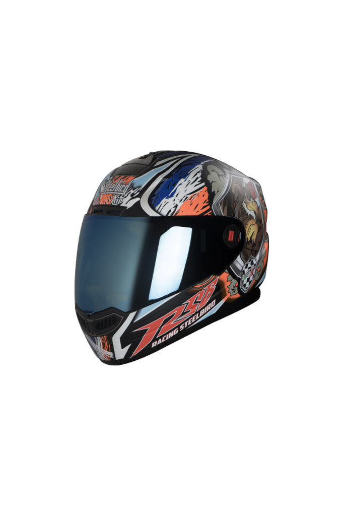 Steelbird Air Griffon Full Face Helmet-Glossy Black With Orange