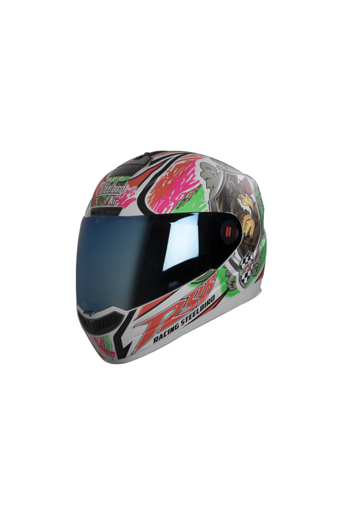 Steelbird Air Griffon Full Face Helmet-Glossy White With Green