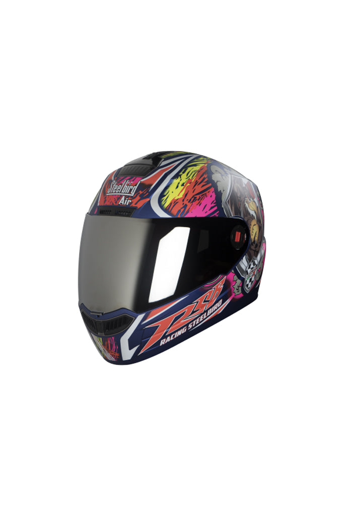 Steelbird Air Griffon Full Face Helmet-Matt Yamaha Blue With Orange