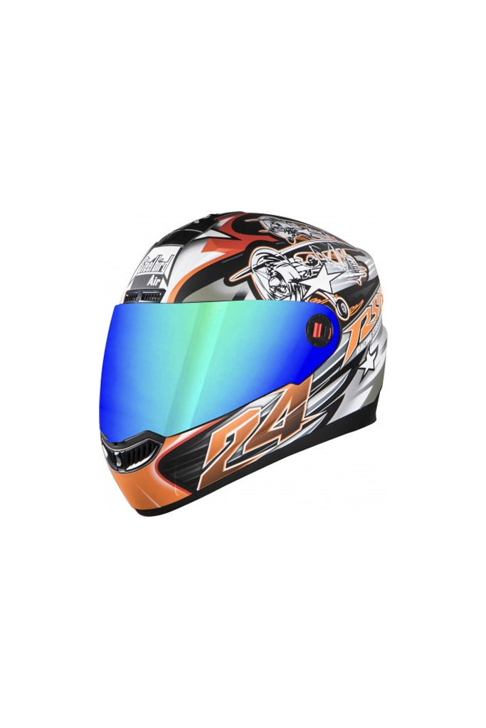 Steelbird Air Hovering Full Face Helmet-Matt Black With Orange