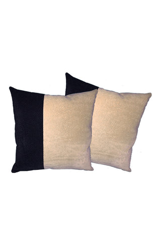 Velvet Comfy Cushion Beige and Black (Set of 2) Style 5