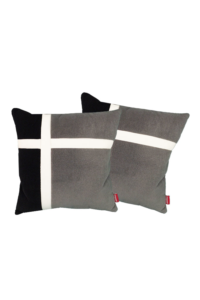 Velvet Comfy Cushion Dark Gray and Black (Set of 2) Style 4