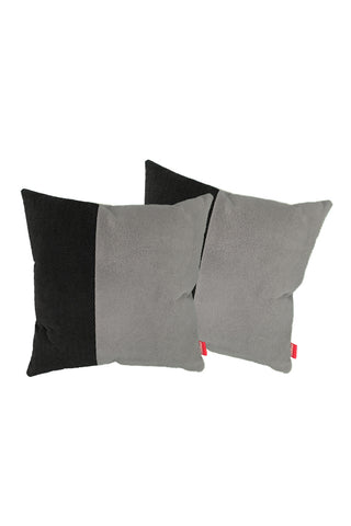 Velvet Comfy Cushion Dark Gray and Black (Set of 2) Style 5