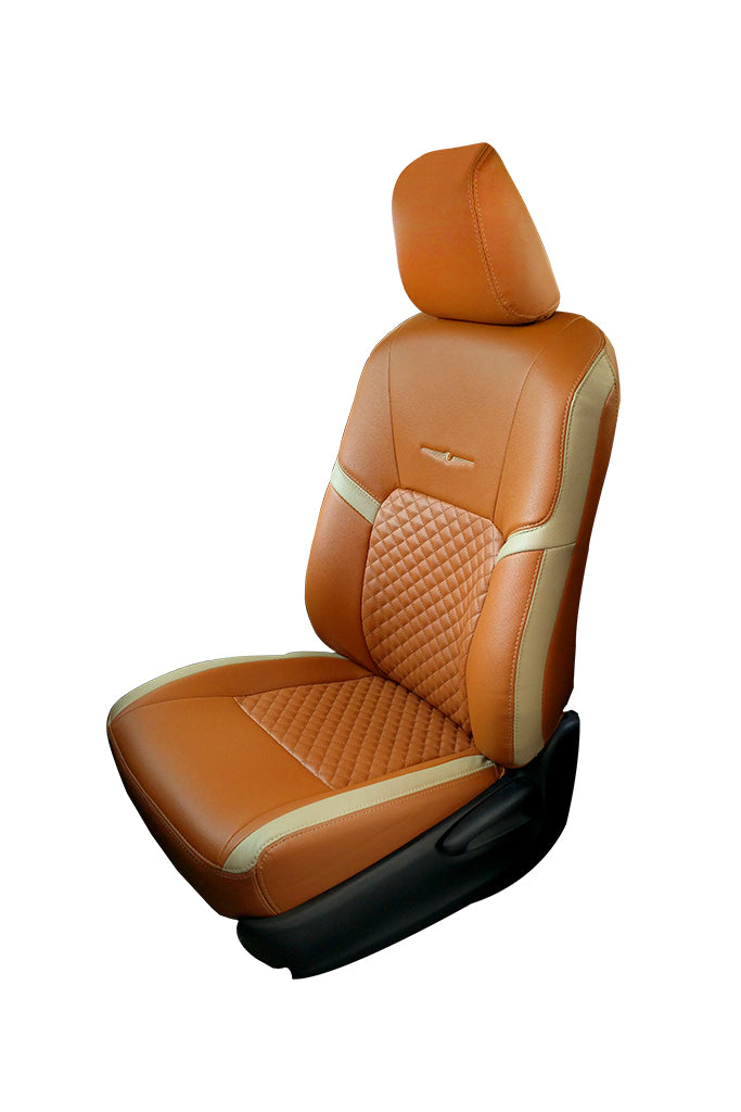 Trend Star Art Leather Car Seat Cover Tan and Beige