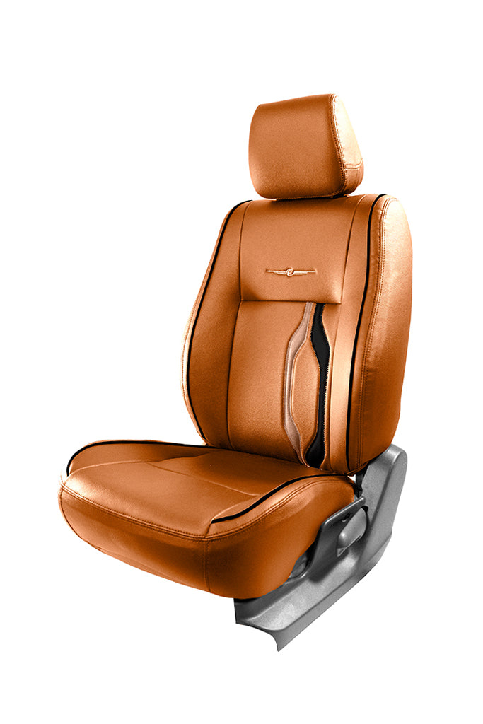 Vogue Trip Art Leather Semi Bucket Fitting Car Seat Cover Tan