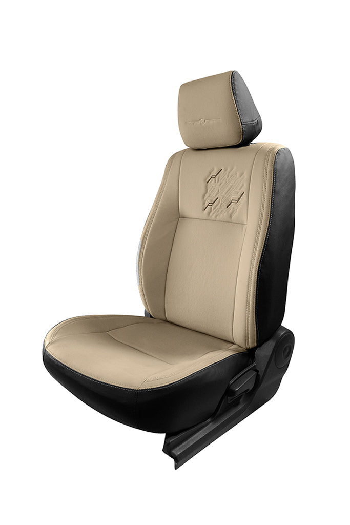 Vogue Zap Art Leather Semi Bucket Fitting Car Seat Cover Black And Beige