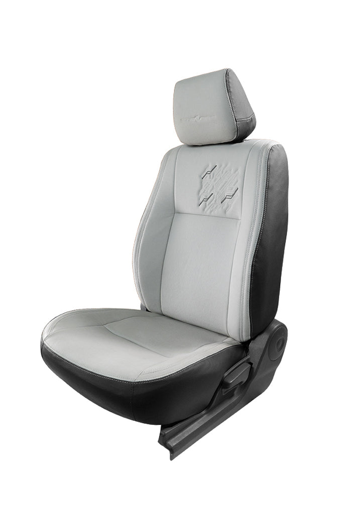 Vogue Zap Art Leather Semi Bucket Fitting Car Seat Cover Black And C Grey