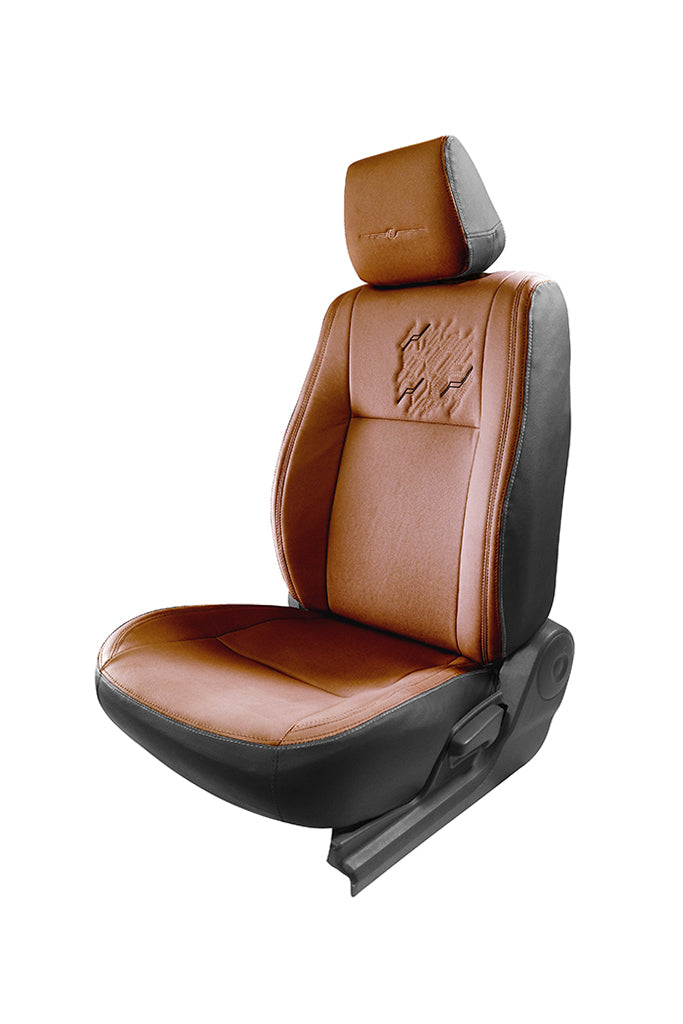 Vogue Zap Art Leather Semi Bucket Fitting Car Seat Cover Black And Tan
