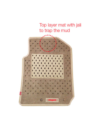 2 Layers Basket Car Floor Mat Beige (Set of 5)