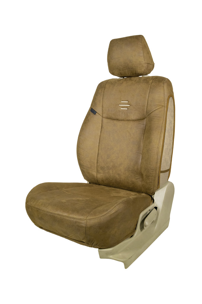 Nubuck Patina Leather Feel Fabric Airbag Friendly Car Seat Cover Beige