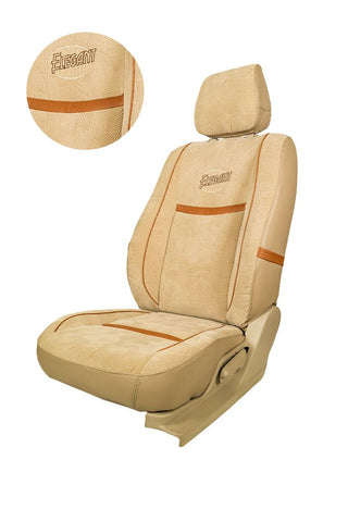 Comfy Waves Fabric Car Seat Cover Beige & Tan
