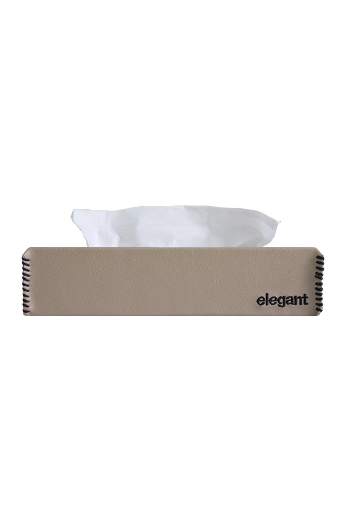 Nappa Leather Tissue Box Beige and Black