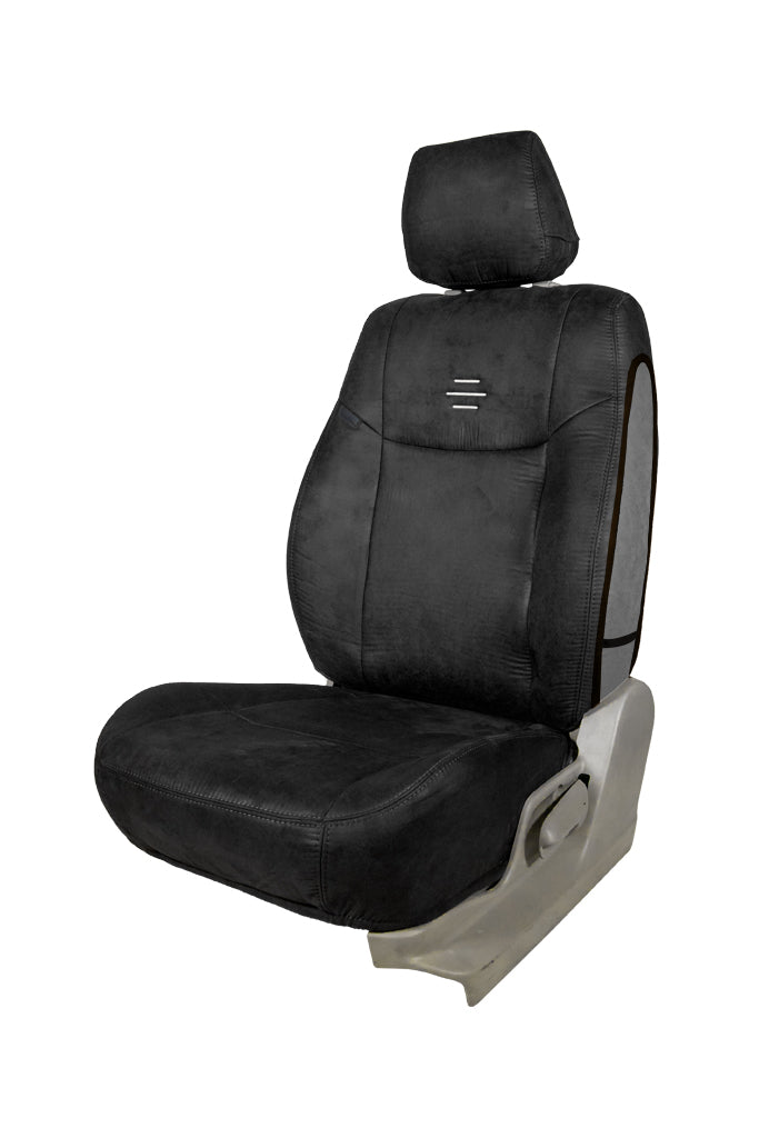 Nubuck Patina Leather Feel Fabric Airbag Friendly Car Seat Cover Black