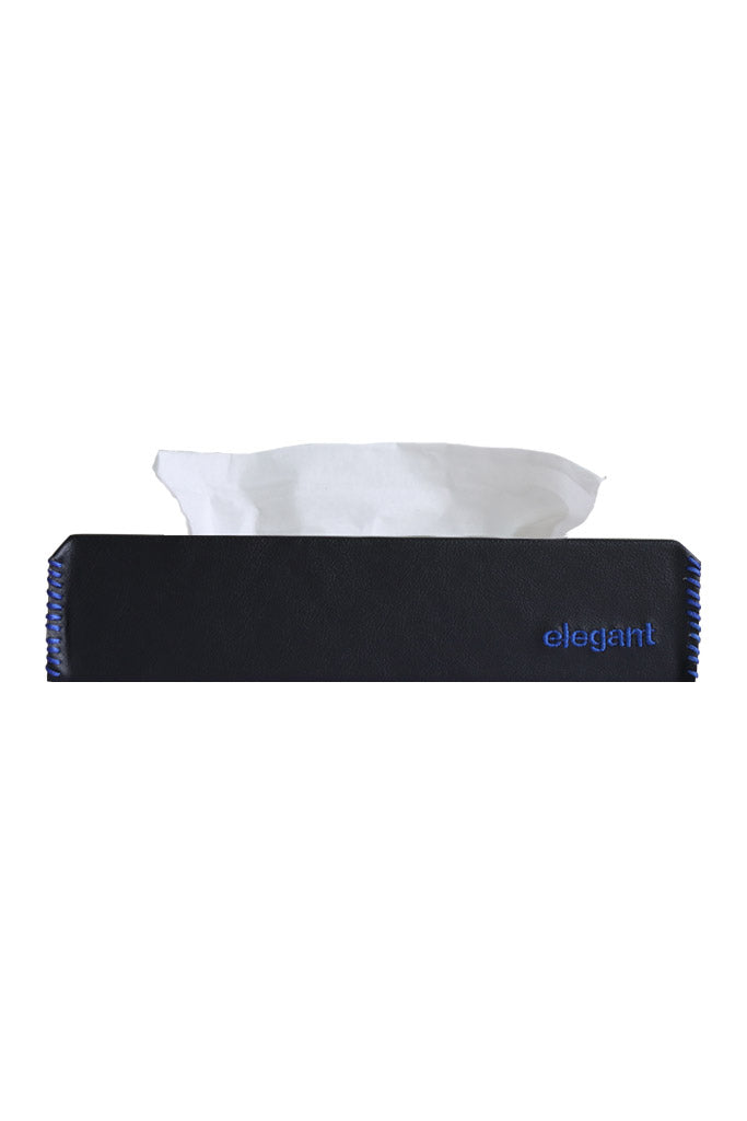 Nappa Leather Tissue Box Black and Blue