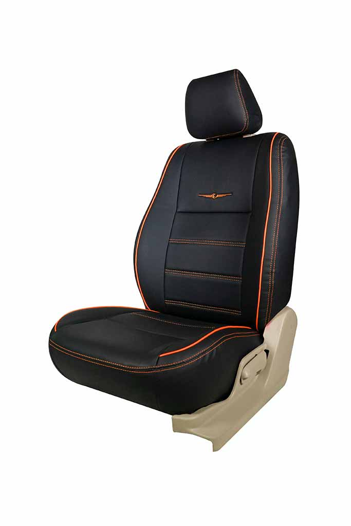 Vogue Urban Art Leather Car Seat Cover Black and Orange