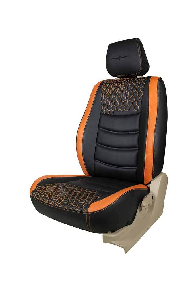 Glory Prism Art Leather Car Seat Cover Black and Orange